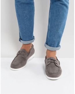 Boat Shoes In Grey Faux Suede