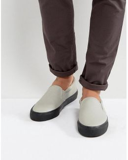 Slip On Plimsolls In Grey With Chunky Black Sole