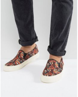 Slip On Sneakers In Canvas With Tiger Print