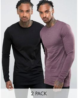 2 Pack Muscle Longline Long Sleeve T-shirt