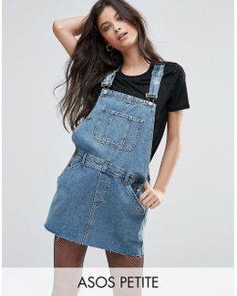 Denim Overall Dress In Mid Wash Blue