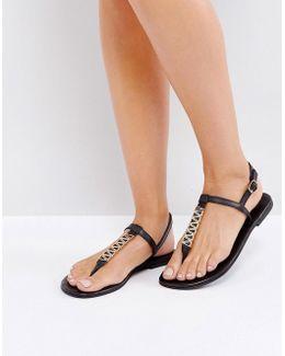 Leather Metal Link Toepost Sandal