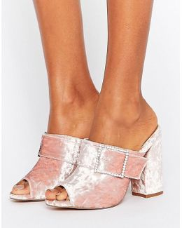 Harlequin Jewelled Buckle Heeled Mules