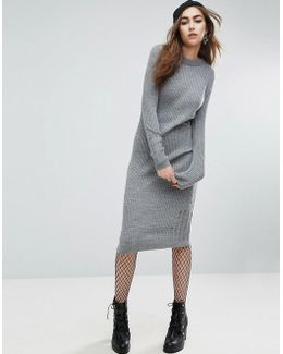 Knitted Dress In Rib With Ladder Detail
