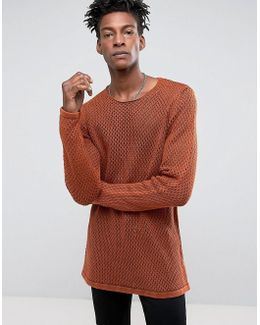 Longline Knitted Textured Mesh Jumper In Rust