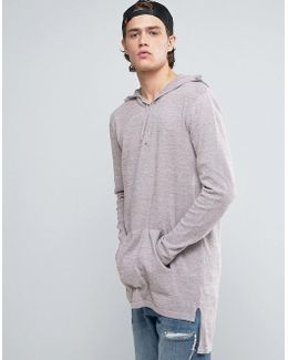 Knitted Longline Hoodie In Pink And Gray Twist