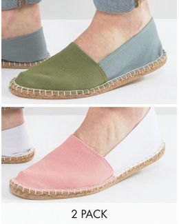 Two Tone Espadrilles In Pink And Green 2 Pack Save