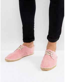Lace Up Espadrilles In Pink Faux Suede