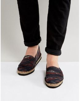 Espadrilles In Camo With Black Wedge