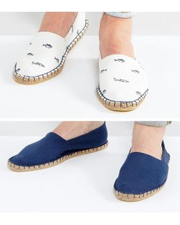 Espadrilles In Navy And White Fish Print 2 Pack Save