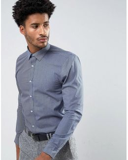 Navy Micro Slim Fit Geo Shirt