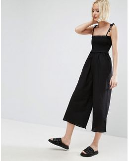 Jumpsuit In Cotton With Shirred Bodice