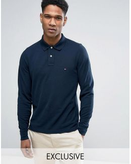 Long Sleeve Polo Pique Slim Fit Flag Logo In Navy Exclusive To Asos