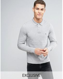 Long Sleeve Polo Pique Slim Fit Flag Logo In Grey Heather Exclusive To Asos