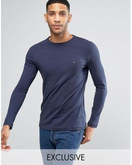 Long Sleeve Top Flag Logo In Navy Exclusive To Asos