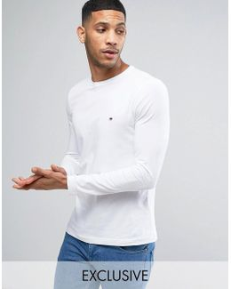 Long Sleeve Top Flag Logo In White Exclusive To Asos