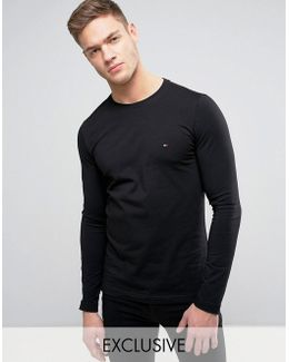 Long Sleeve Top Flag Logo In Black Exclusive To Asos