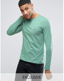 Long Sleeve Top Flag Logo In Green Exclusive To Asos