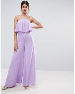 Jumpsuit In Crinkle With Wide Leg And Halter Neck