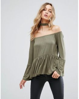 Off The Shoulder Top With Flare Hem And Sleeve