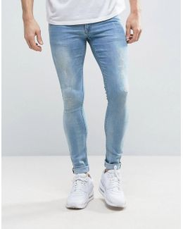 Extreme Super Skinny Jeans With Abrasions Light Blue