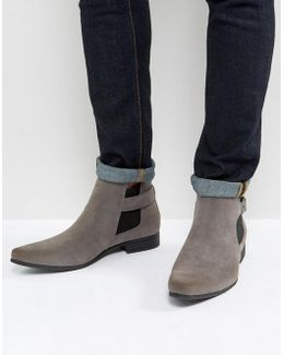 Chelsea Boots In Grey Faux Suede With Strap Detail
