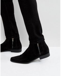 Chelsea Boots In Black Faux Suede With Zips