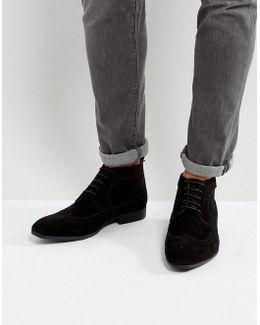 Brogue Chukka Boots In Black Faux Suede