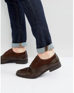 Brogue Shoes In Brown Faux Leather And Faux Suede Detail