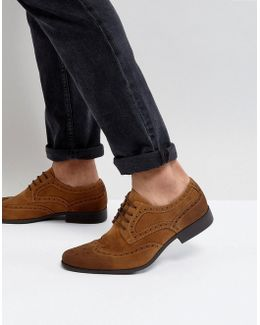 Brogue Shoes In Tan Faux Suede