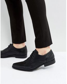 Brogue Shoes In Black Faux Leather With Emboss Detail