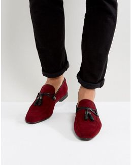 Loafers In Burgundy Faux Suede With Tassle Detail