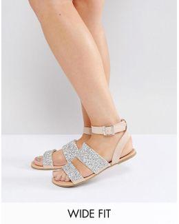 Fancy Feet Wide Fit Embellished Flat Sandals