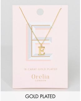 Gold Plated Large E Initial Necklace