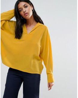 Silk Pleat Back Batwing Shirt