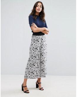 Daisy Print Wide Leg Pant