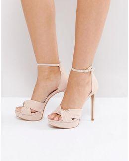 Ameline Pink Cross Front Heeled Sandals