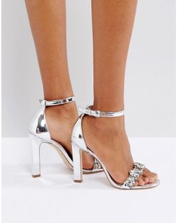 Milaa Silver Embellished Barely There Sandals