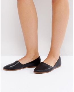 Blanchette Black Leather Flat Shoes