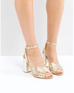 Petrusa Metallic Block Heel Sandals