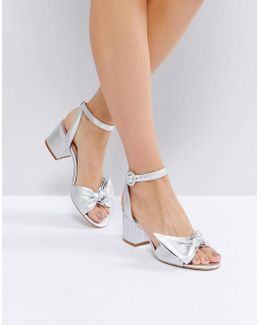 Beautie Silver Mid Heeled Knot Front Sandals