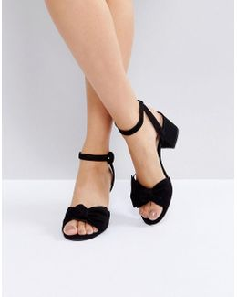 Beautie Black Mid Heeled Knot Front Sandals