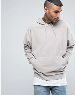 Oversized Velour Hoodie In Gray