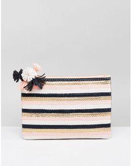 Hunt Pom Detail Clutch Bag