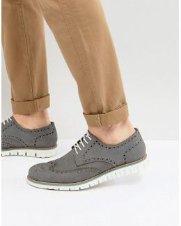 Baloo Brogues In Gray Suede