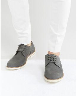 Beatnik Derby Shoes In Grey Suede