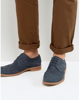 Midnight Brogues In Navy Suede