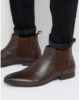 Mister Chelsea Boots In Brown Leather