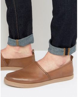 Sleek Leather Espadrilles In Tan