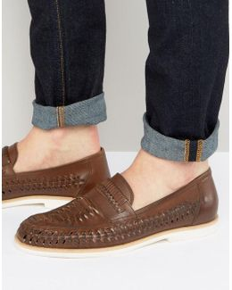 Woven Loafers In Brown Leather